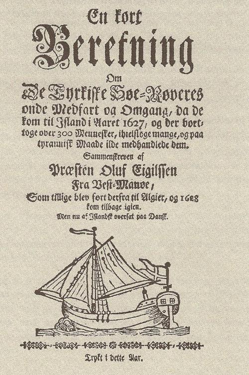 Titelsidan från förstautgåvan av Òlafur Egilssons bok, 1628.